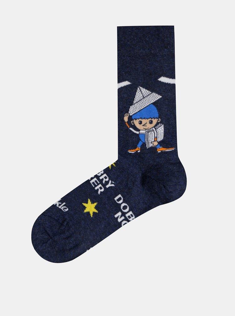 Tmavomodré vzorované ponožky Fusakle Vecernicek