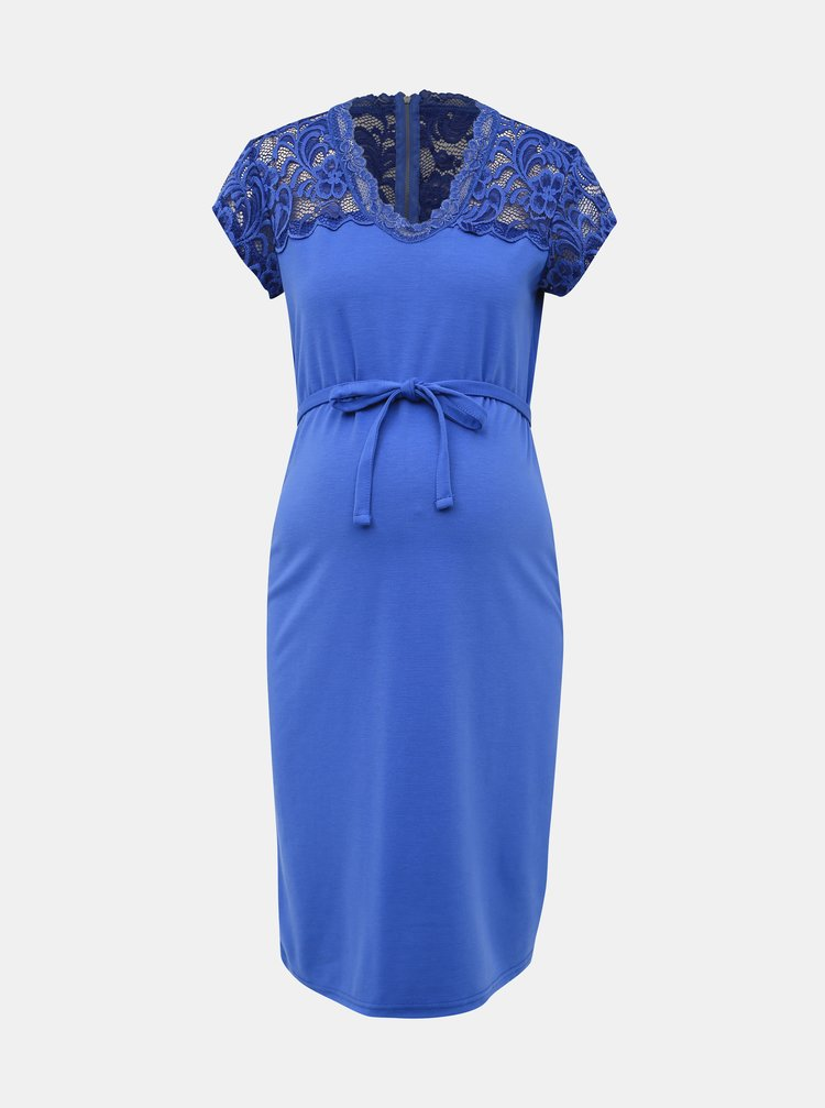 Modré tehotenské šaty s krajkou Mama.licious Blackie Mivana