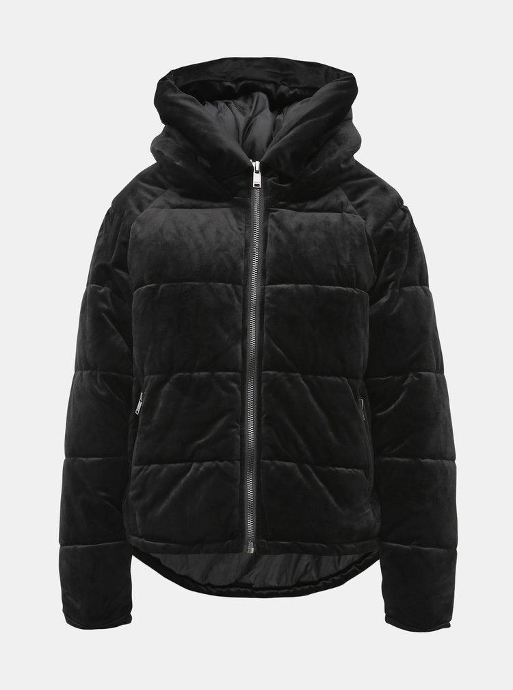 Čierna sametová zimná bunda ONLY New Paula