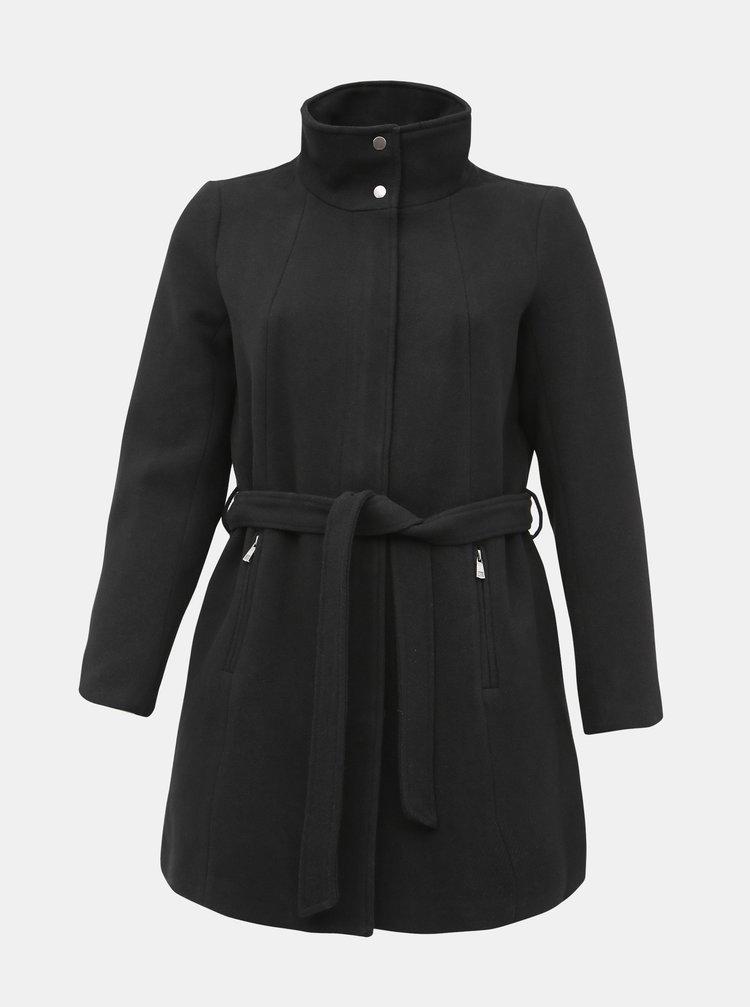 Černý kabát s příměsí vlny ONLY CARMAKOMA Christie Rianna