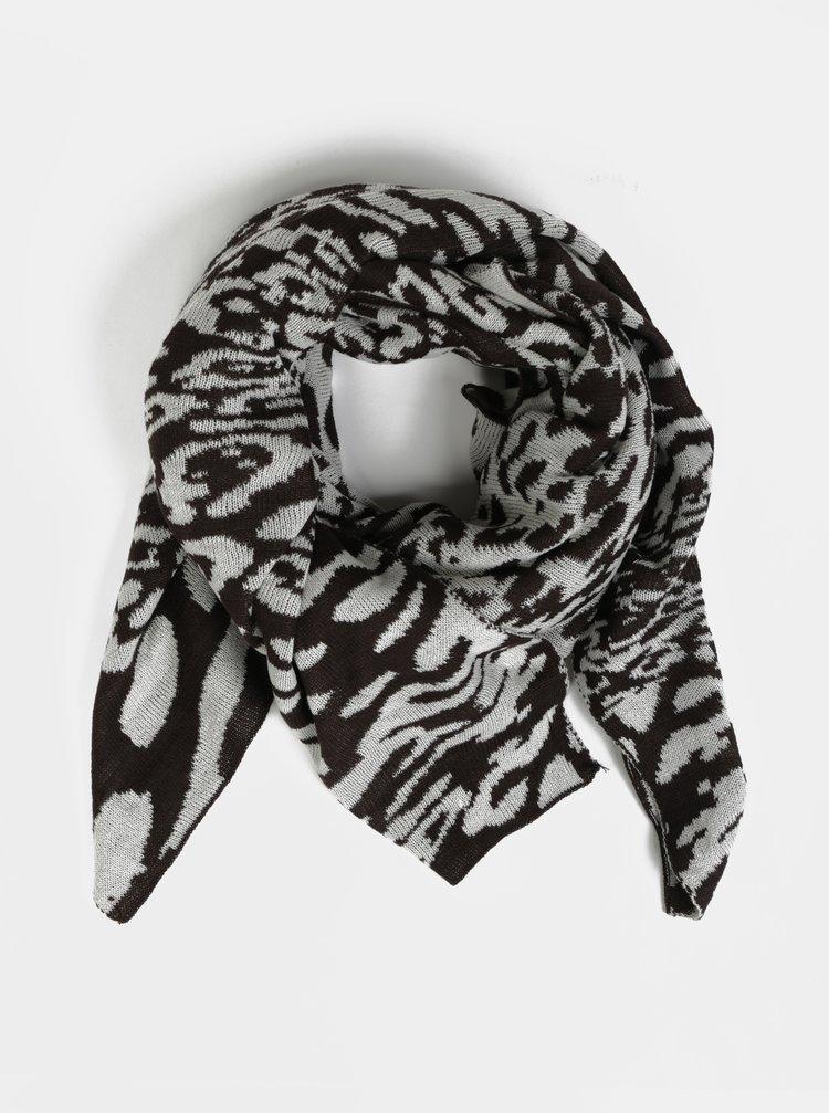 Krémovo-hnědá šála s leopardím vzorem Pieces Koa