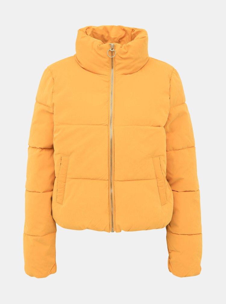 Horčicová prešívaná zimná bunda ONLY Dina