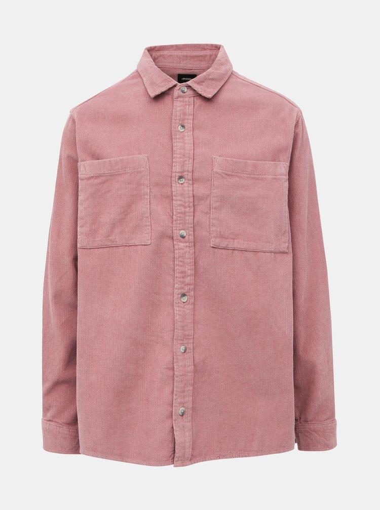 Rúžová menčestrová košeľa Burton Menswear London