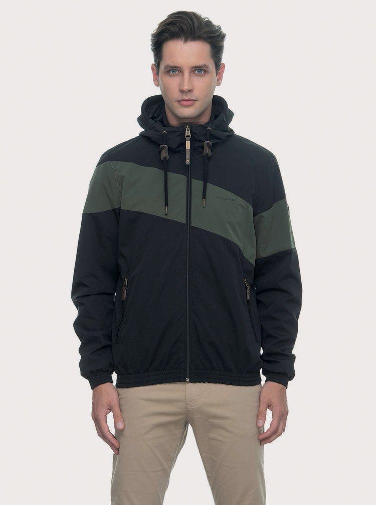 Zeleno-čierna pánska funkčná ľahká bunda Ragwear Hugg