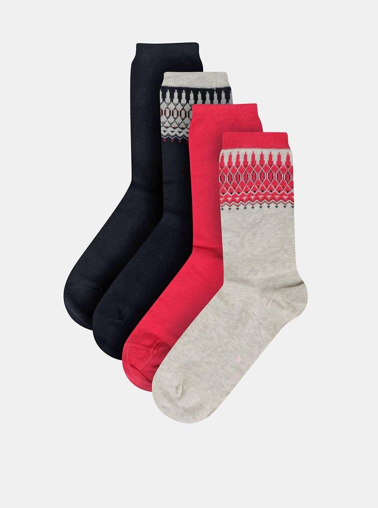 Sada štyroch párov dámskych ponožiek v béžovej, modrej a červenej farbe Tom Tailor
