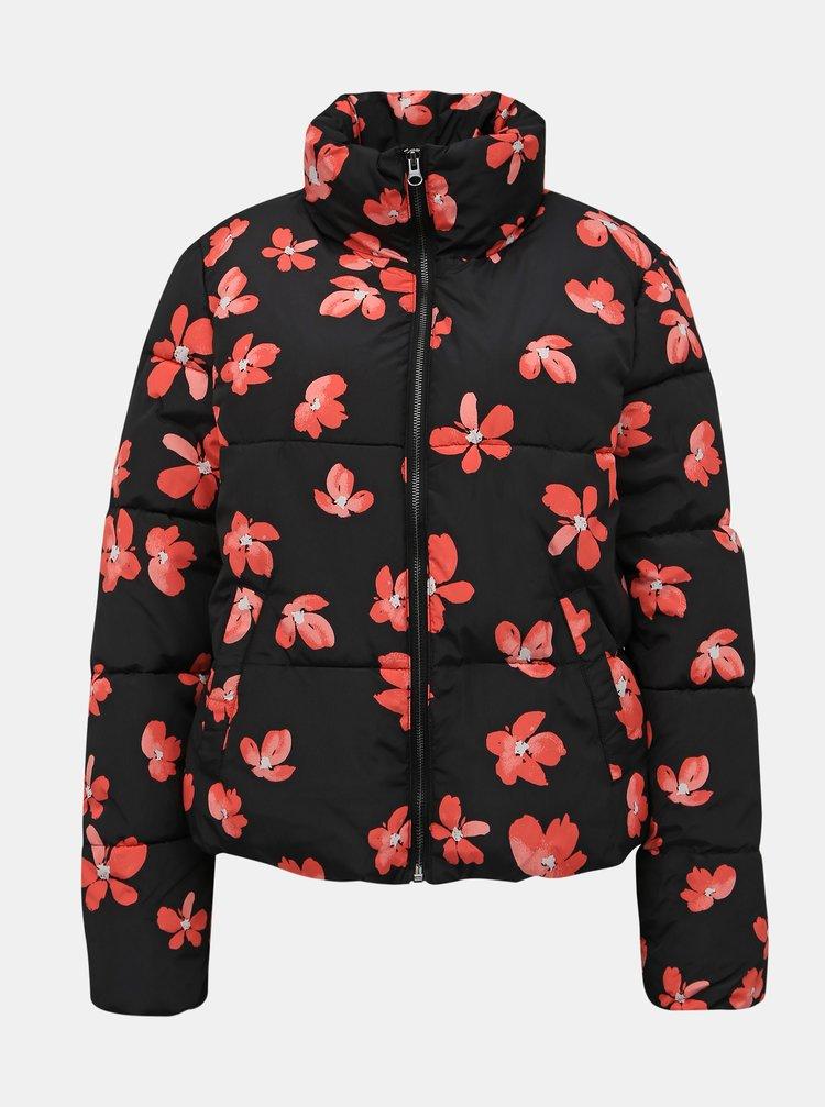 Čierna kvetovaná zimná bunda Jacqueline de Yong Erica
