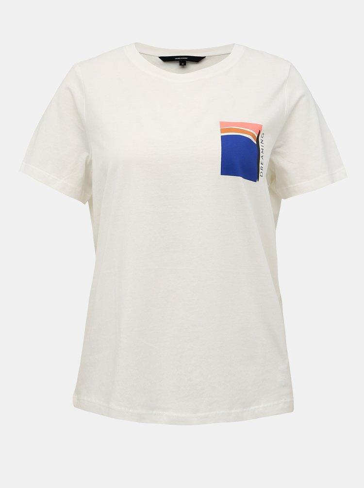 Krémové tričko s potlačou VERO MODA Fonda