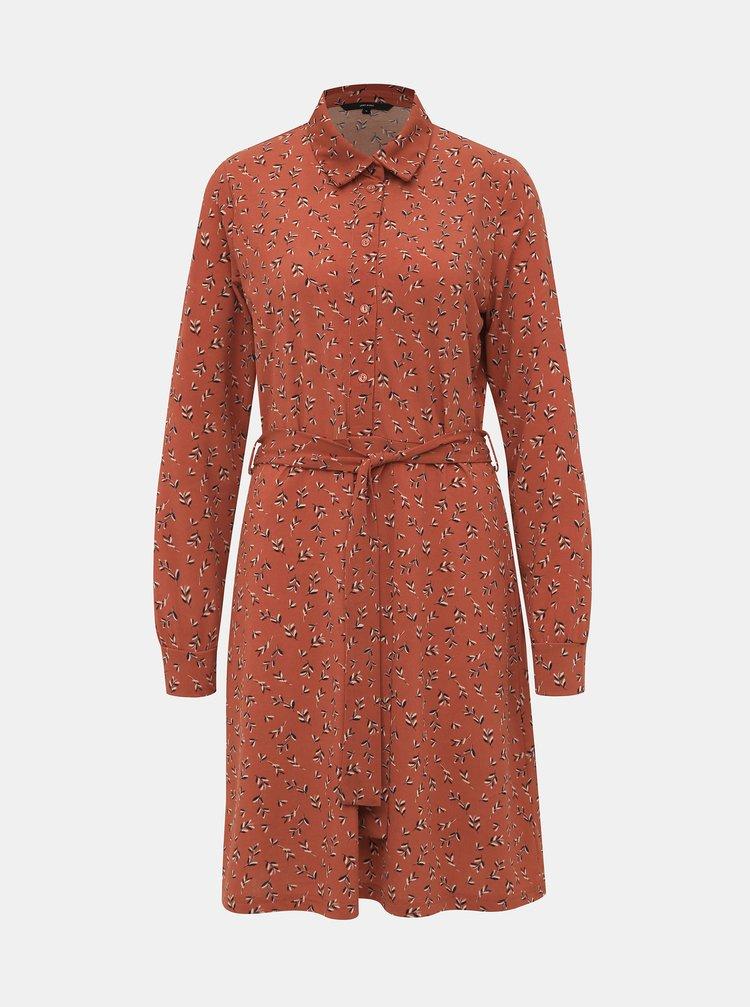 Hnedé vzorované šaty VERO MODA Toka