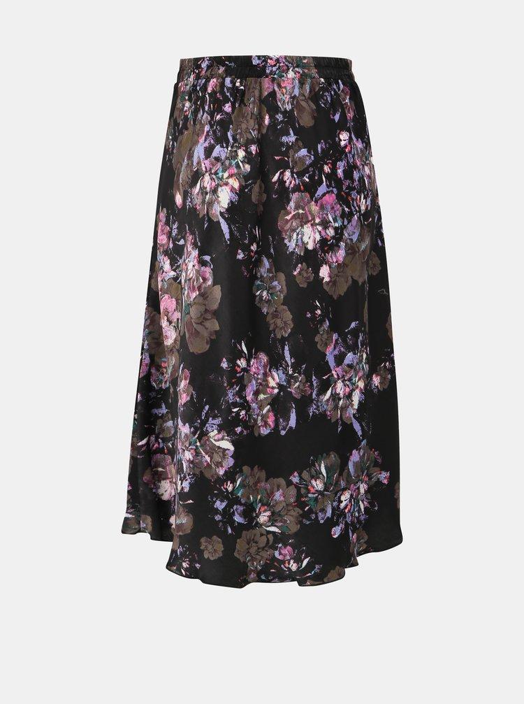 Černá květovaná saténová midi sukně VERO MODA Emilia