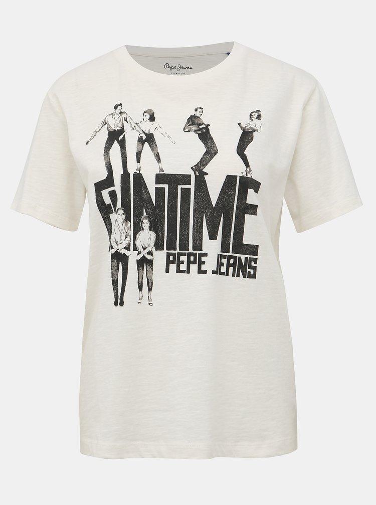 Biele dámske tričko s potlačou Pepe Jeans CInamon