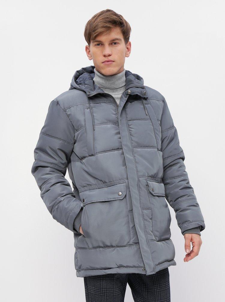 Šedá pánska prešívaná zimná bunda ZOOT