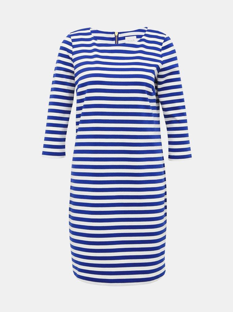 Bielo-modré pruhované šaty VILA Tinny