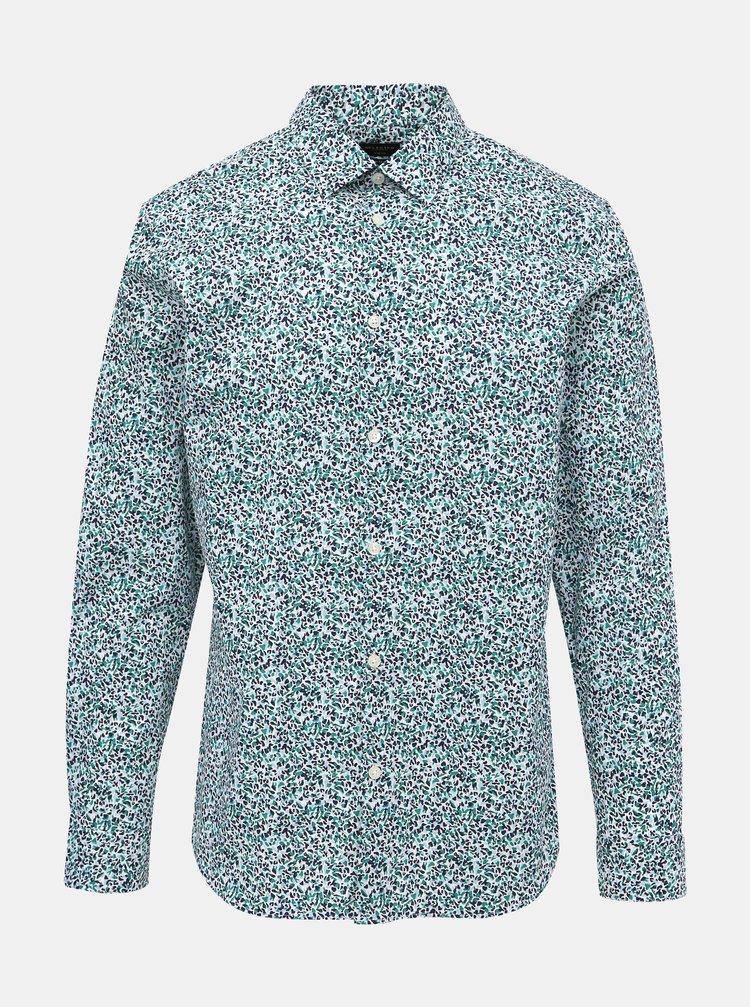 Svetlozelená vzorovaná slim fit košeľa Selected Homme NIgel