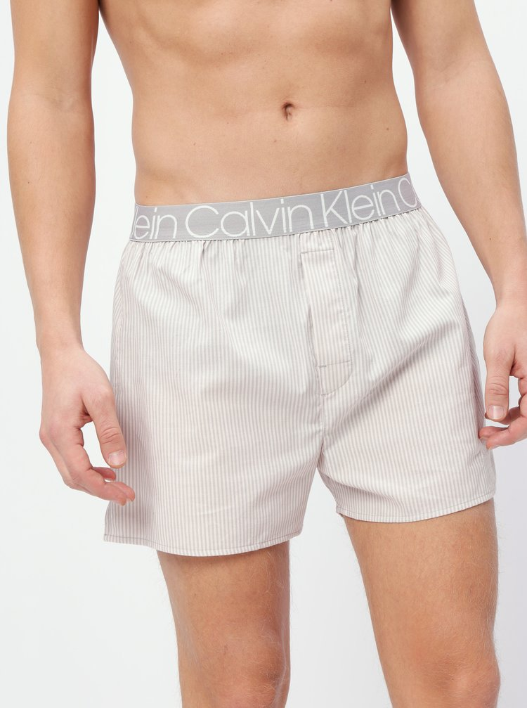Šedo-béžové pruhované pánské trenýrky Calvin Klein Underwear