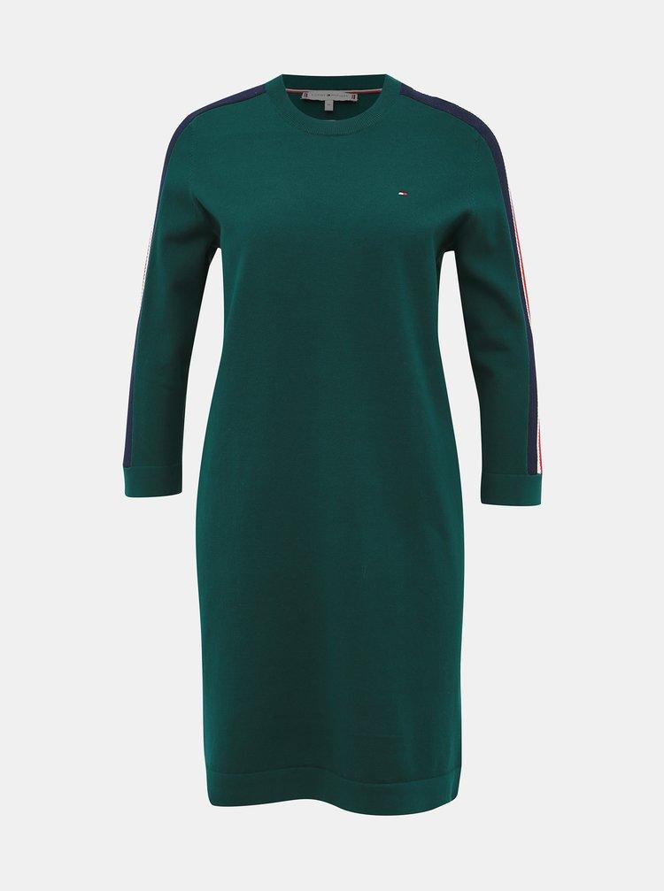 Zelené svetrové šaty s lampasem Tommy Hilfiger