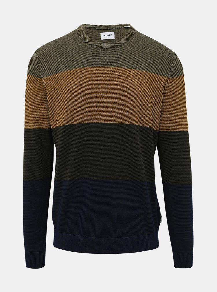 Khaki vzorovaný svetr ONLY & SONS Alex