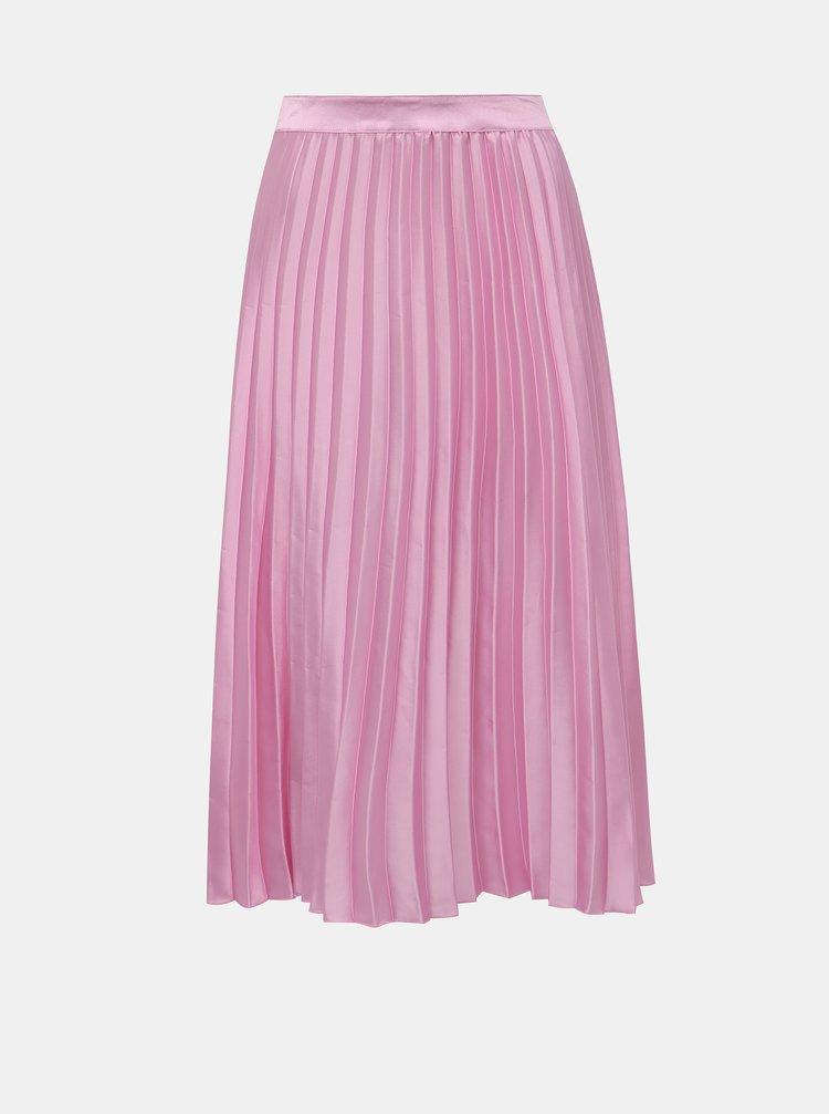 Růžová plisovaná saténová sukně Miss Selfridge Petites