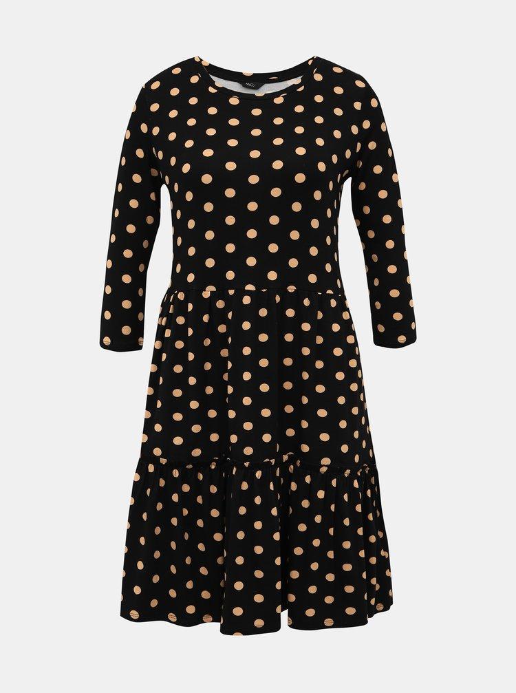 Černé puntíkované šaty M&Co