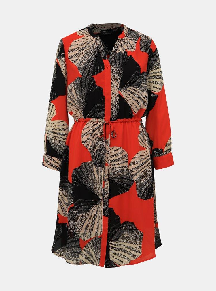Černo-červené vzorované košilové šaty Selected Femme Damina