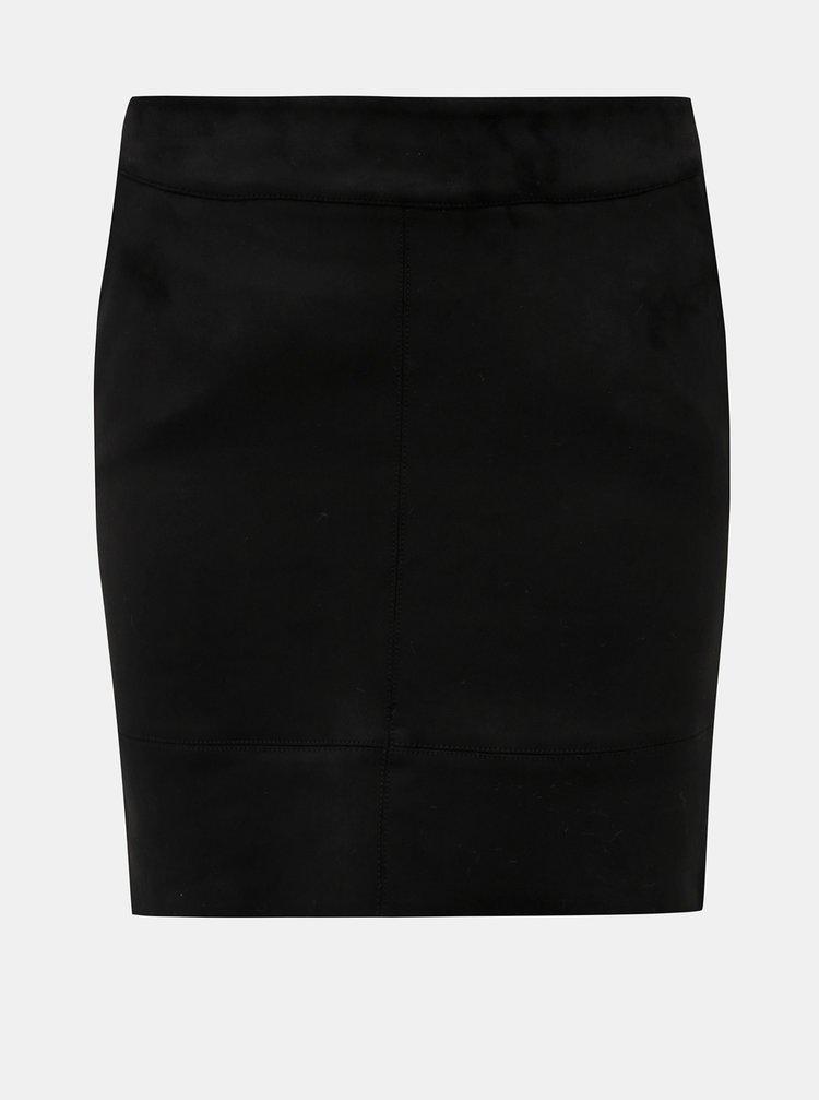 Černá pouzdrová mini sukně v semišové úpravě ONLY Julie