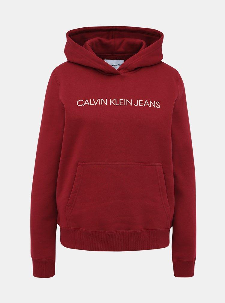 Vínová dámska mikina s potlačou Calvin Klein Jeans