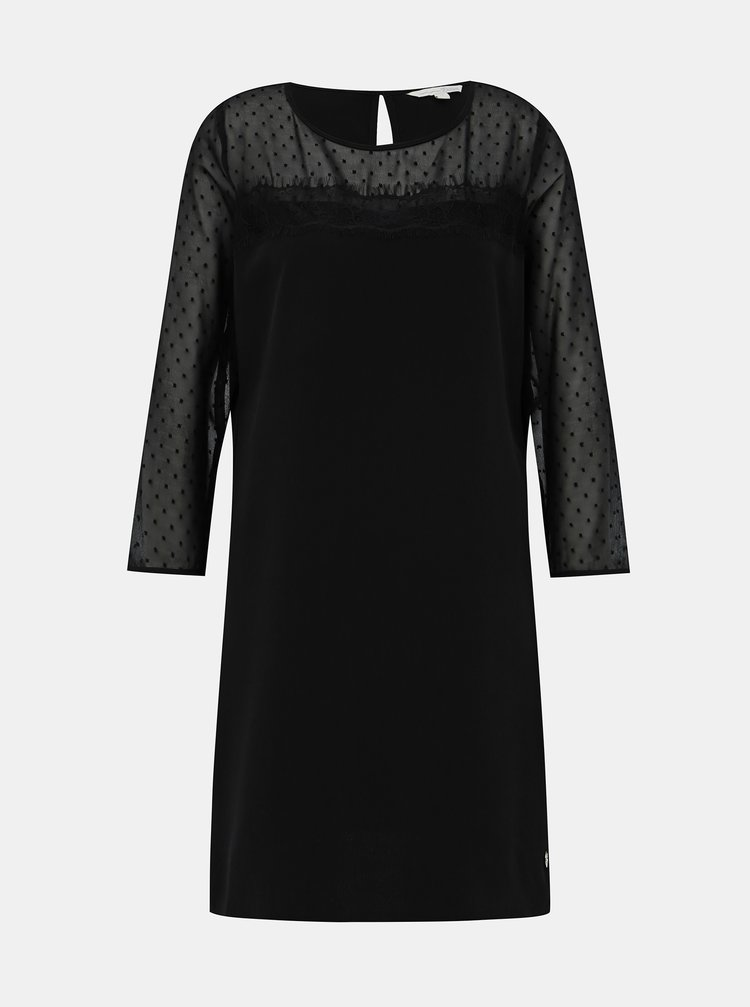 Černé šaty s krajkou Tom Tailor