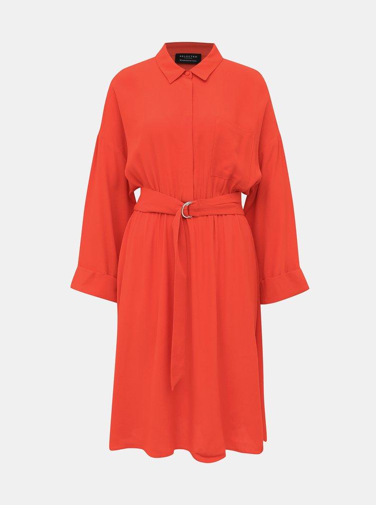 Červené košeľové šaty Selected Femme Emery