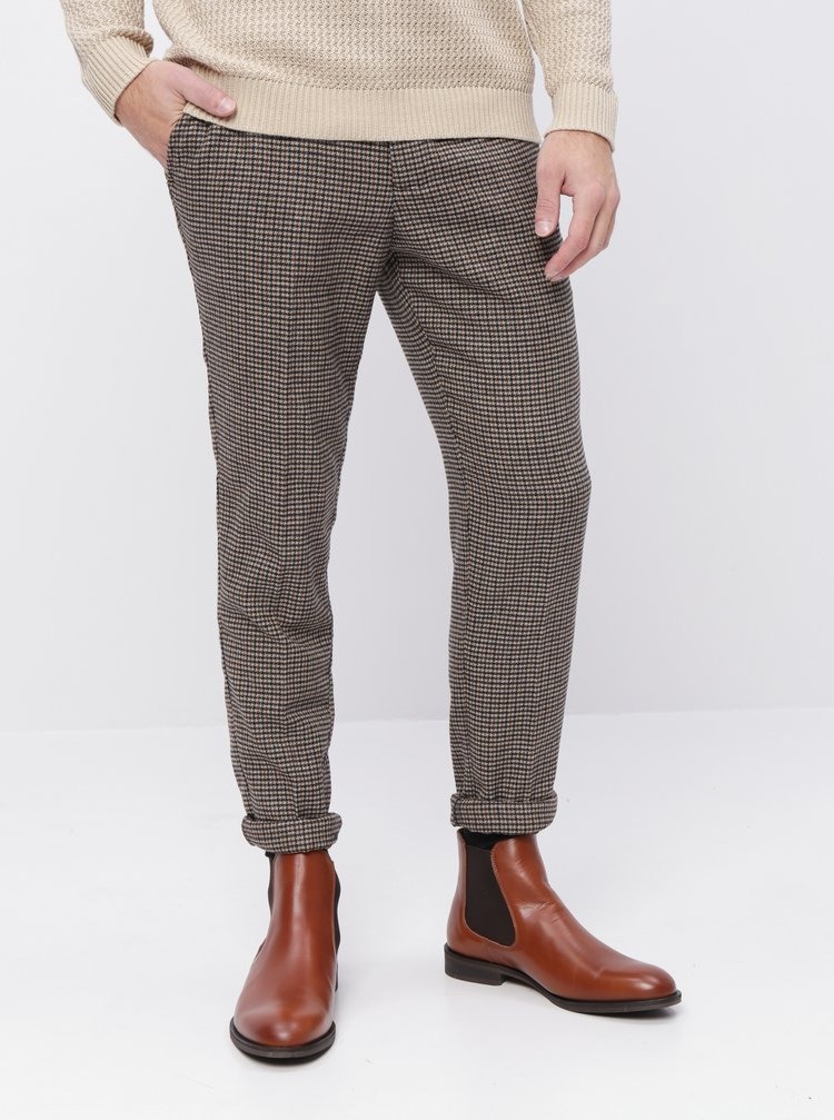 Hnedé vzorované slim fit nohavice s prímesou vlny Selected Homme Fleet