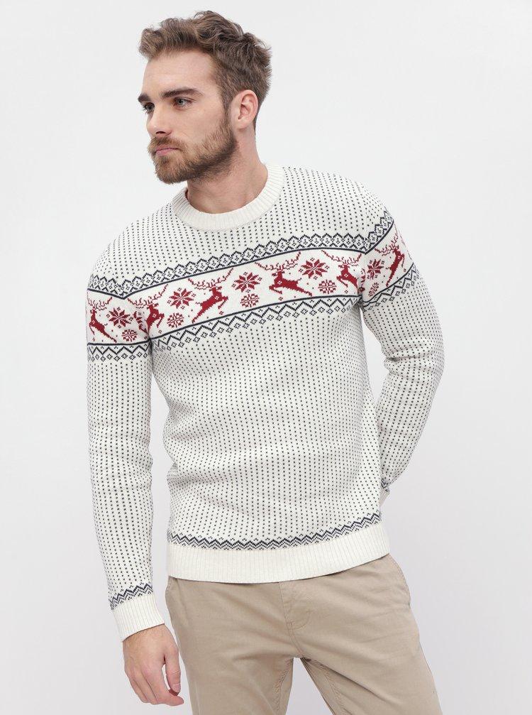 Bílý vzorovaný svetr Selected Homme Deer