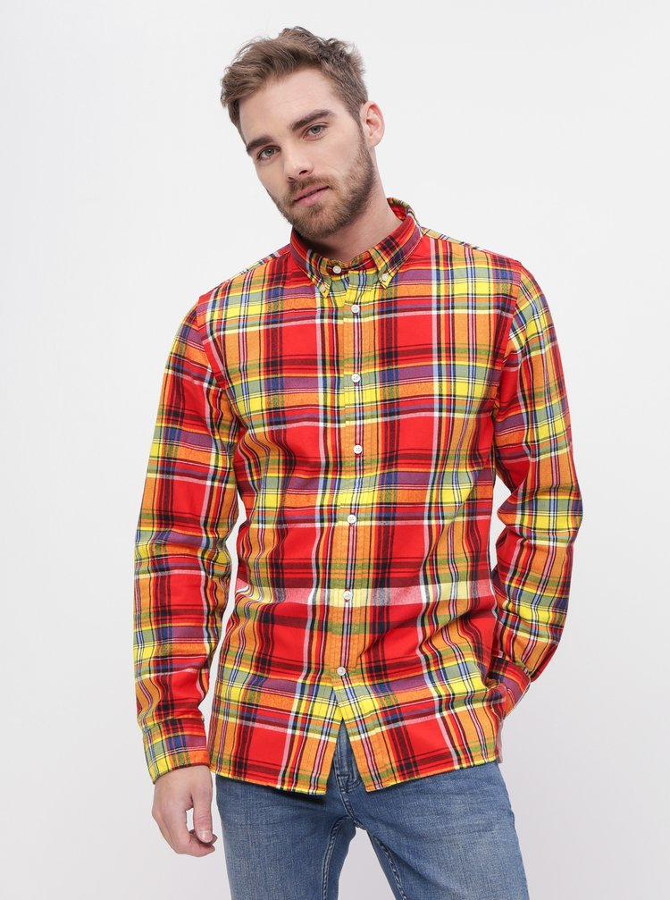 Červená pánská kostkovaná regular fit košile Tommy Hilfiger