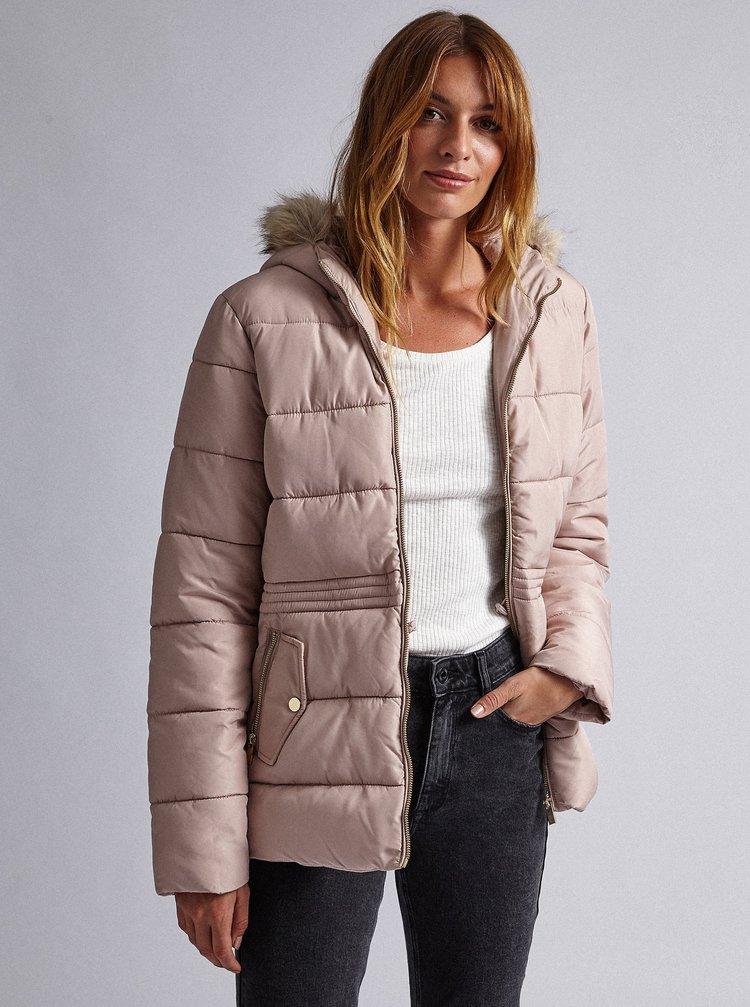 Světle růžová prošívaná zimní bunda Dorothy Perkins