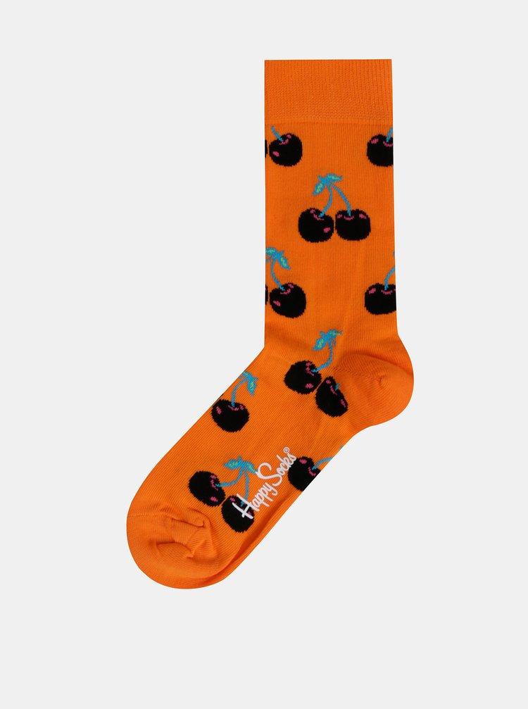 Oranžové vzorované ponožky Happy Socks Cherry Sock