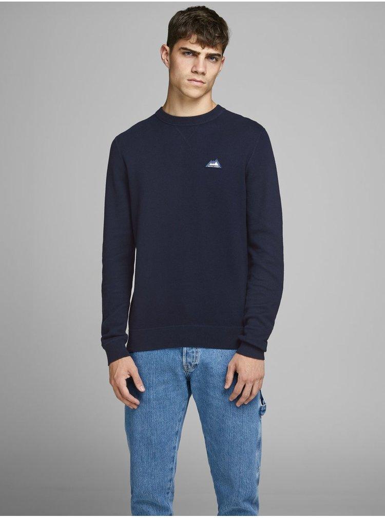 Tmavě modrý svetr s nášivkou Jack & Jones Double