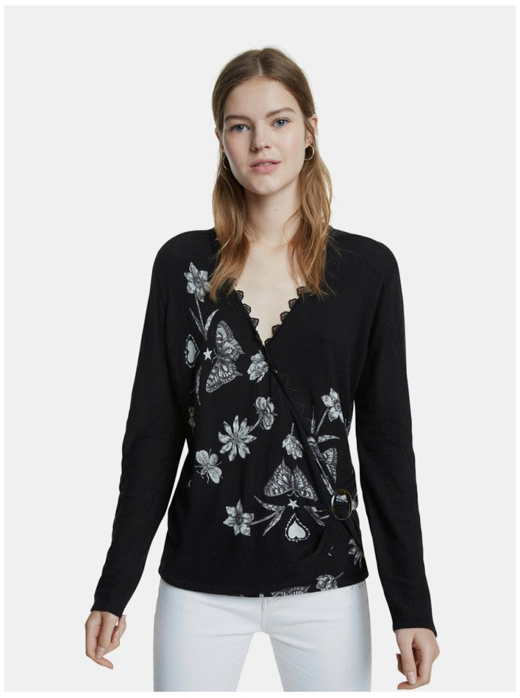 Černý květovaný svetr Desigual