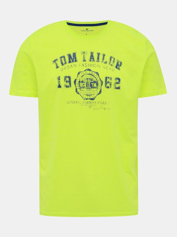 Neonově zelené pánské tričko s potiskem Tom Tailor