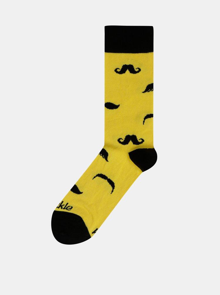 Žluté vzorované ponožky Fusakle Fúzač retro