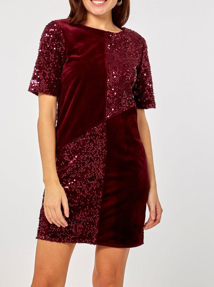 Vínové sametové flitrované šaty Dorothy Perkins
