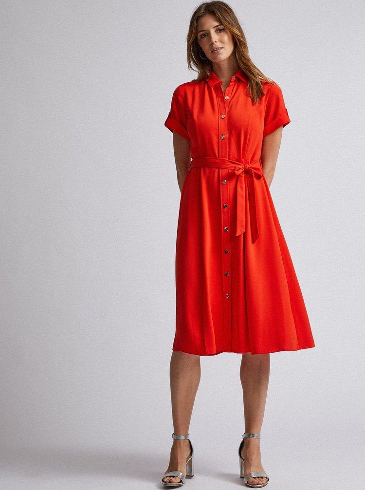 Oranžové košeľové midi šaty Dorothy Perkins