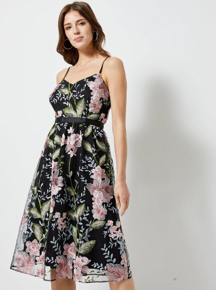 Černé tylové květované šaty Dorothy Perkins