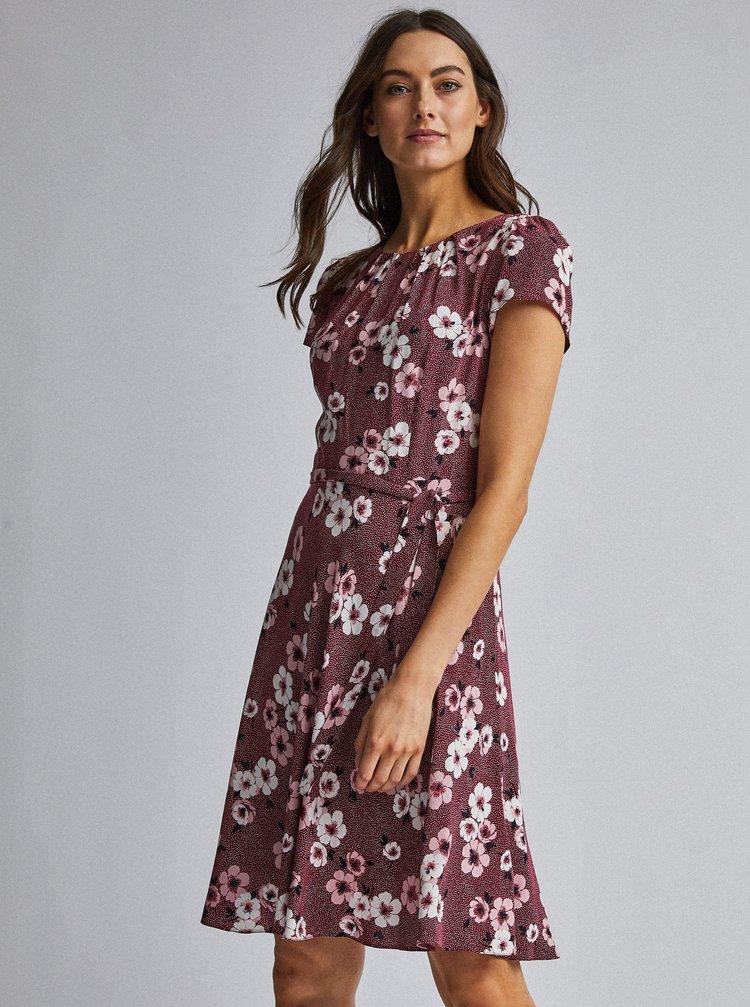 Vínové květované šaty Dorothy Perkins