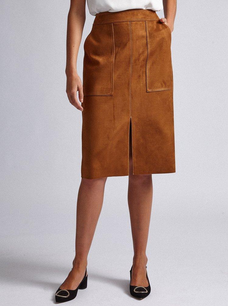 Hnedá púzdrová sukňa v semišovej úprave Dorothy Perkins