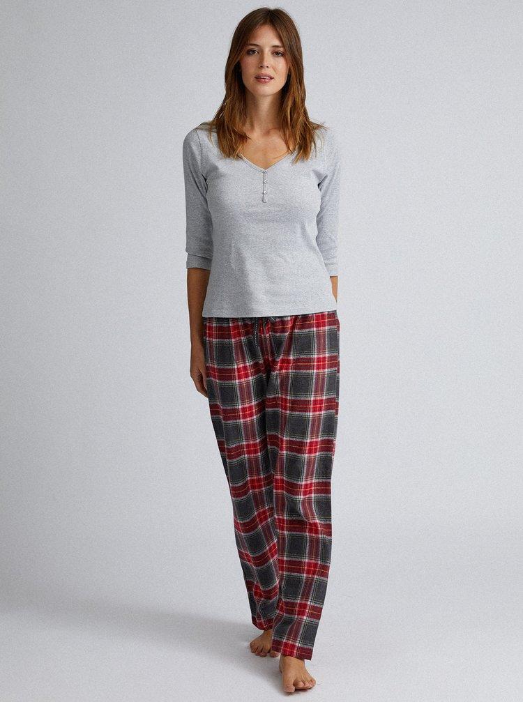 Šedo-červené kostkované dvoudílné pyžamo Dorothy Perkins