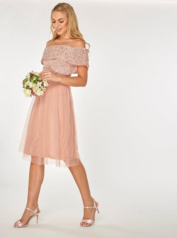 Rochie roz prafuit cu decolteu pe umeri si paiete decorative Dorothy Perkins