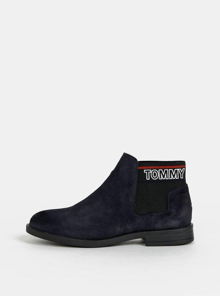 Tmavě modré dámské semišové chelsea boty Tommy Hilfiger Corporate