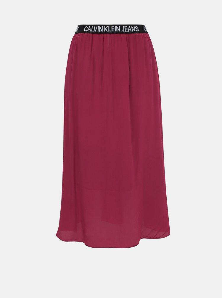 Vínová midi sukňa Calvin Klein Jeans
