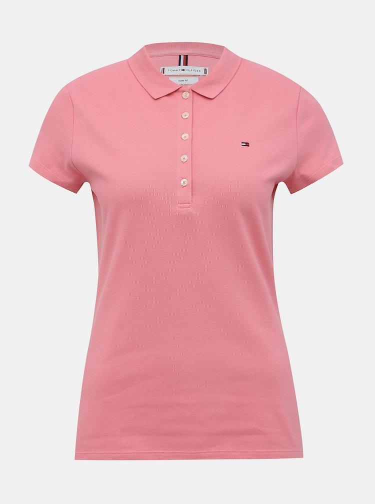 Ružová dámska basic polokošeľa Tommy Hilfiger