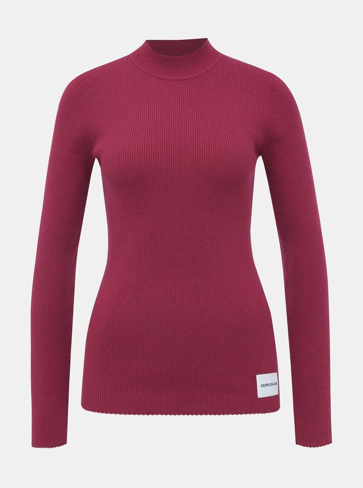 Vínový dámsky sveter s prímesou vlny Calvin Klein Jeans Iconic