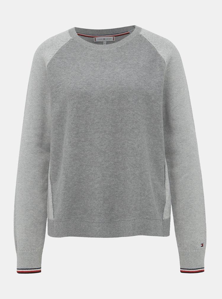 Šedý dámský basic svetr Tommy Hilfiger