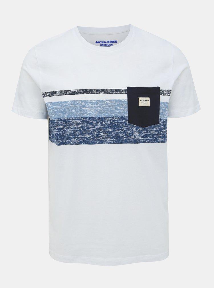 Bílé tričko s potiskem Jack & Jones Langley