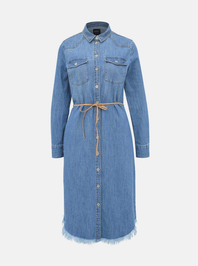 Modré džínové košilové midišaty ONLY Tianna